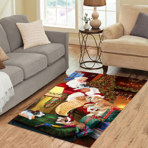 Santa Sleeping with Borzoi Dogs Area Rug