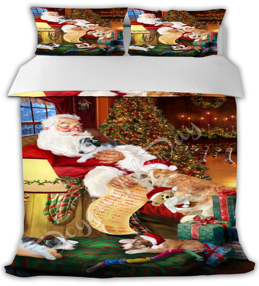 Santa Sleeping with Borzoi Dogs Bed Comforter CMFTR49484