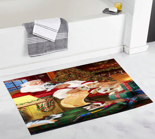 Santa Sleeping with Borzoi Dogs Bath Mat