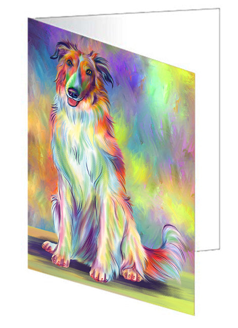 Paradise Wave Borzoi Dog Greeting Card GCD79814
