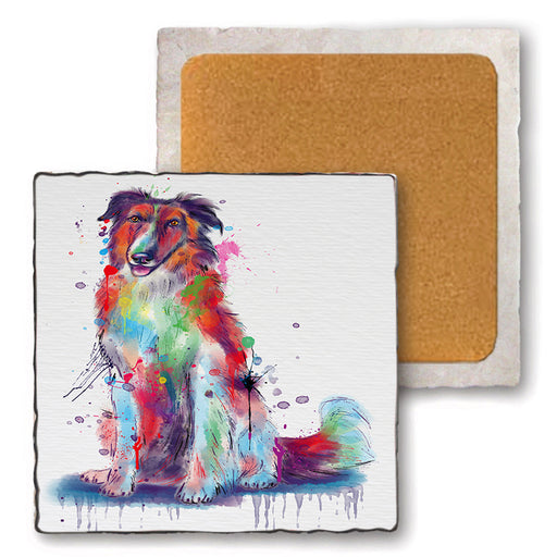 Watercolor Borzoi Dog Set of 4 Natural Stone Marble Tile Coasters MCST52542