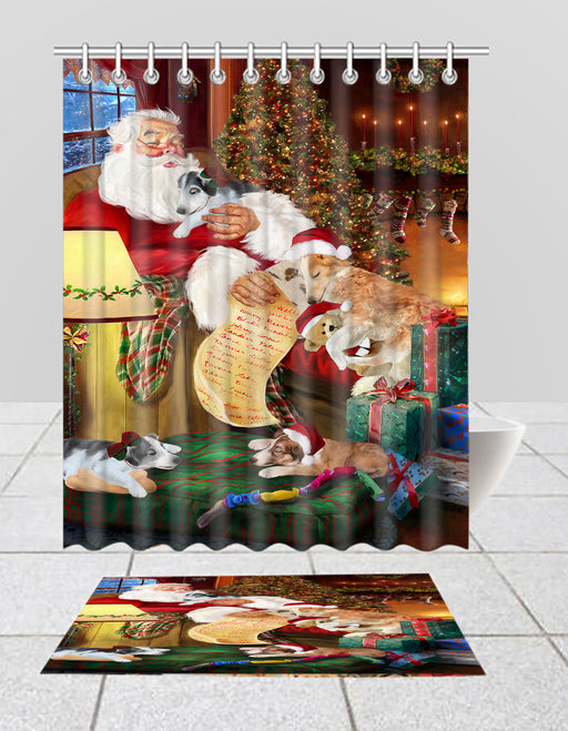 Santa Sleeping with Borzoi Dogs  Bath Mat and Shower Curtain Combo