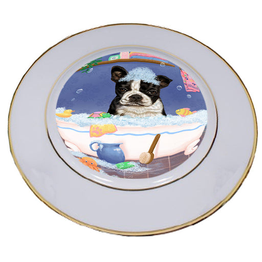 Rub A Dub Dog In A Tub Boston Terrier Dog Porcelain Plate PLT57368