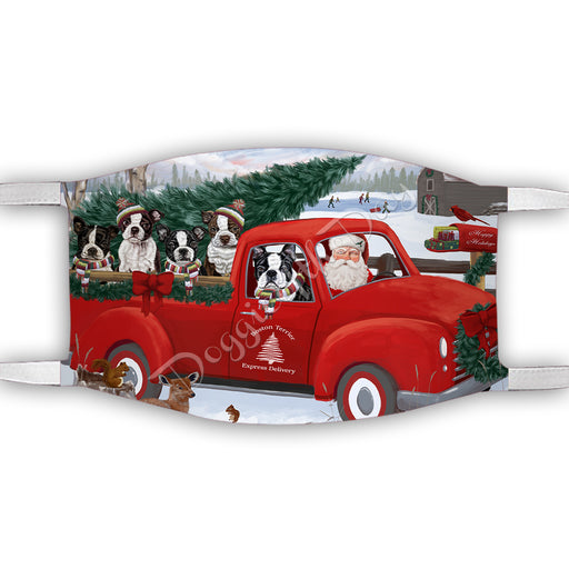 Christmas Santa Express Delivery Red Truck Boston Terrier Dogs Face Mask FM48420