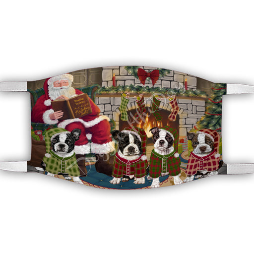 Christmas Cozy Holiday Fire Tails Boston Terrier Dogs Face Mask FM48614