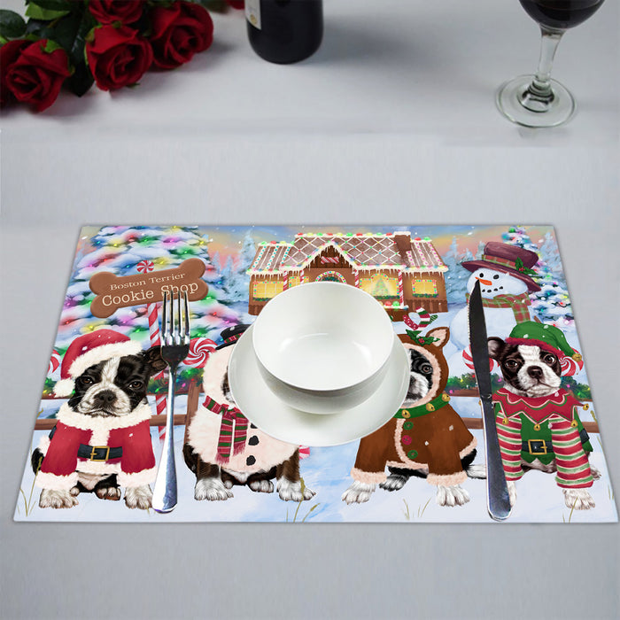 Holiday Gingerbread Cookie Boston Terrier Dogs Placemat