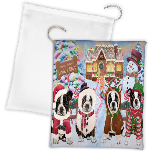 Holiday Gingerbread Cookie Boston Terrier Dogs Shop Drawstring Laundry or Gift Bag LGB48578