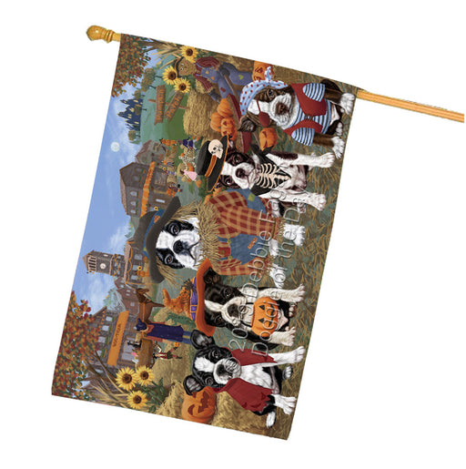 Halloween Round Town And Fall Pumpking Scarecrow Both Boston Terrier Dogs Garden Flag GFLG65579