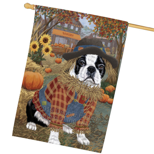 Halloween Round Town And Fall Pumpking Scarecrow Both Boston Terrier Dogs Garden Flag GFLG65640