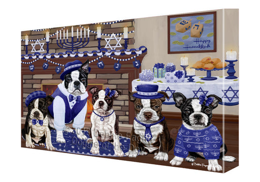 Happy Hanukkah Family and Happy Hanukkah Both Boston Terrier Dogs Canvas Print Wall Art Décor CVS141002