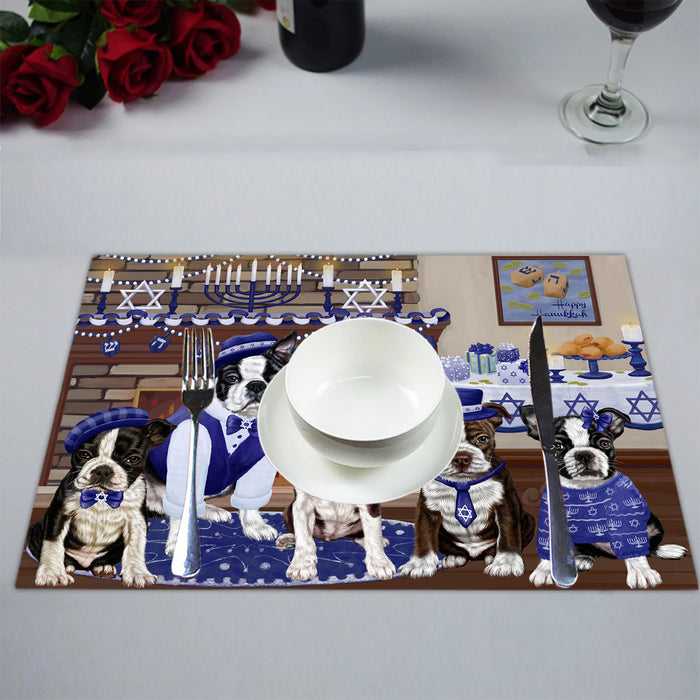 Happy Hanukkah Family Boston Terrier Dogs Placemat