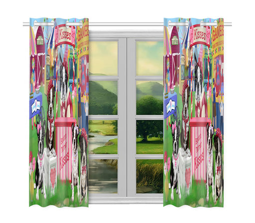 Carnival Kissing Booth Boston Terrier Dogs Window Curtain