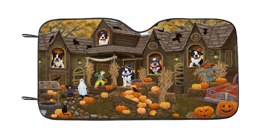 Haunted House Halloween Trick or Treat Boston Terrier Dogs Car Sun Shade