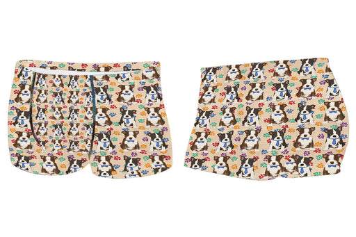 Rainbow Paw Print Boston Terrier Dogs BlueMen's All Over Print Boxer Briefs
