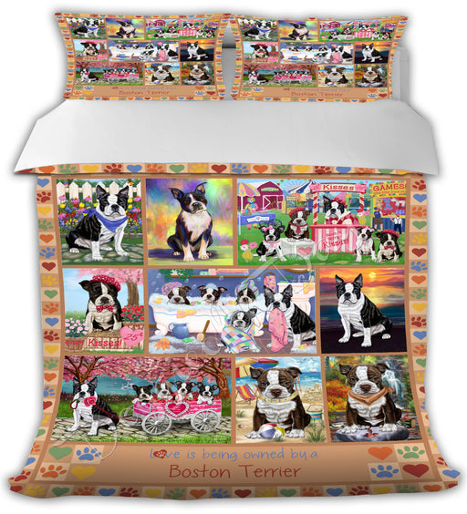 Love is Being Owned Boston Terrier Dogs Beige Bed Comforter CMFTR50702