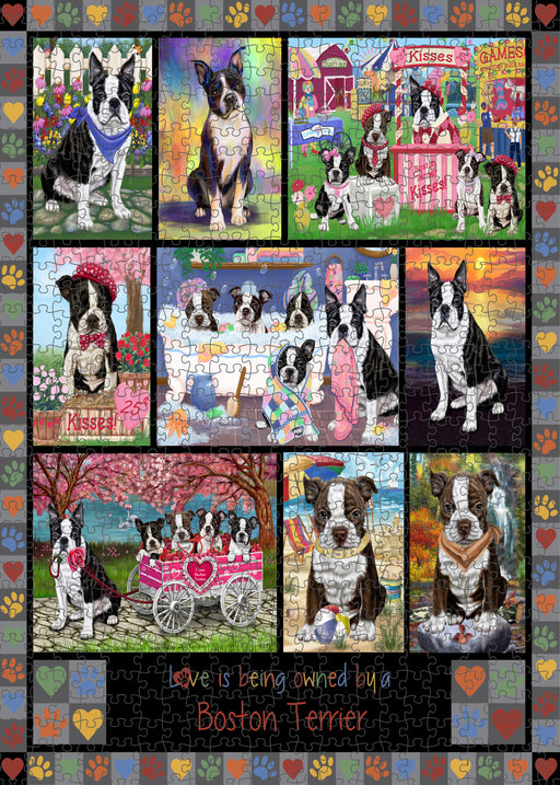 Love is Being Owned Boston Terrier Dog Grey Puzzle with Photo Tin PUZL98304