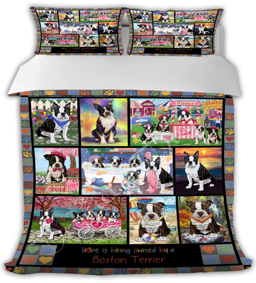 Love is Being Owned Boston Terrier Dogs Grey Bed Comforter CMFTR50191