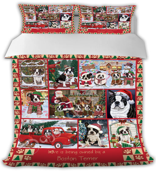 Love is Being Owned Christmas Boston Terrier Dogs Bed Comforter CMFTR48840