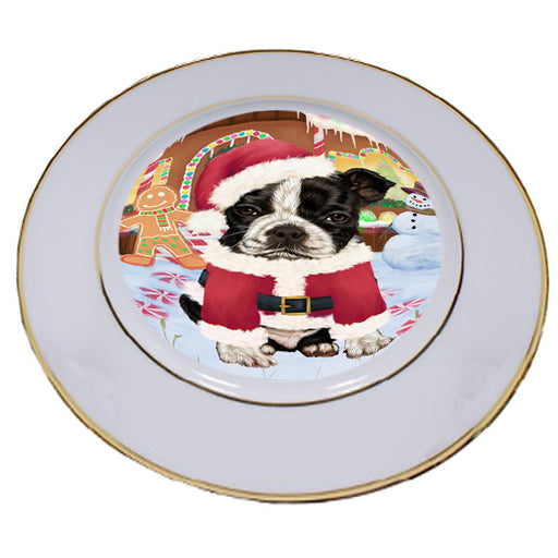 Christmas Gingerbread House Candyfest Boston Terrier Dog Porcelain Plate PLT54555