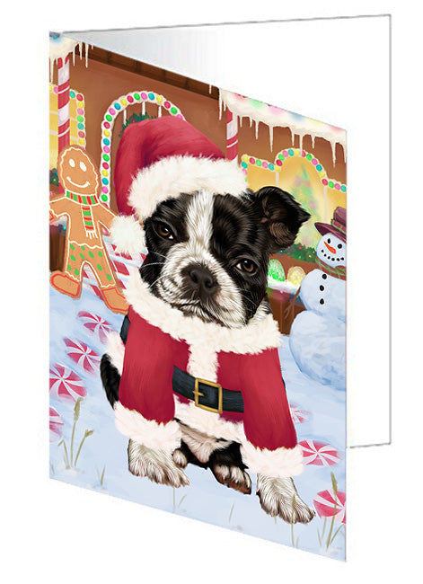 Christmas Gingerbread House Candyfest Boston Terrier Dog Note Card NCD73133