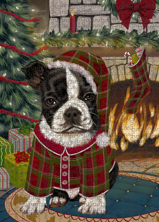 The Stocking was Hung Boston Terrier Dog Puzzle with Photo Tin PUZL89148