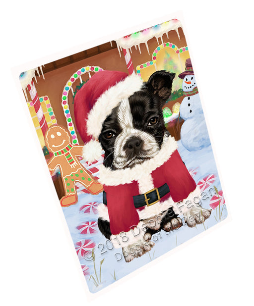Christmas Gingerbread House Candyfest Boston Terrier Dog Large Refrigerator / Dishwasher Magnet RMAG99504