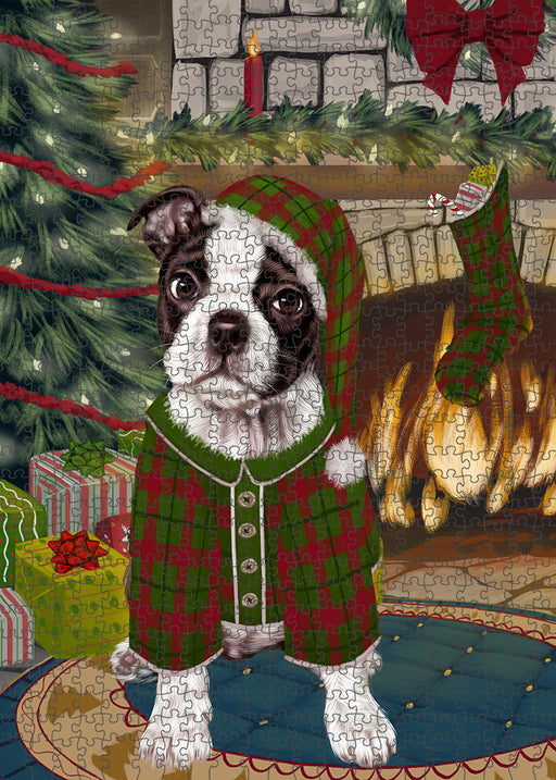 The Stocking was Hung Boston Terrier Dog Puzzle with Photo Tin PUZL89152