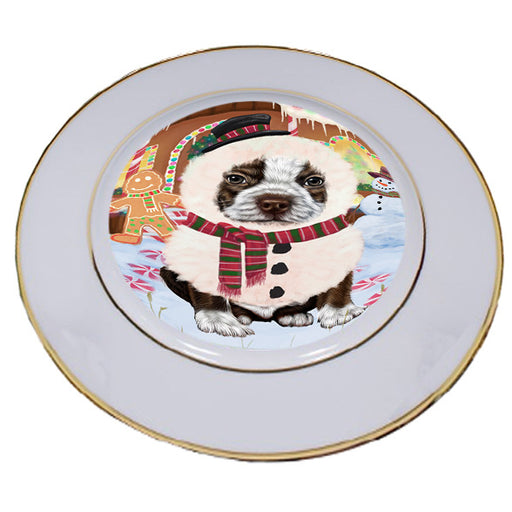 Christmas Gingerbread House Candyfest Boston Terrier Dog Porcelain Plate PLT54556