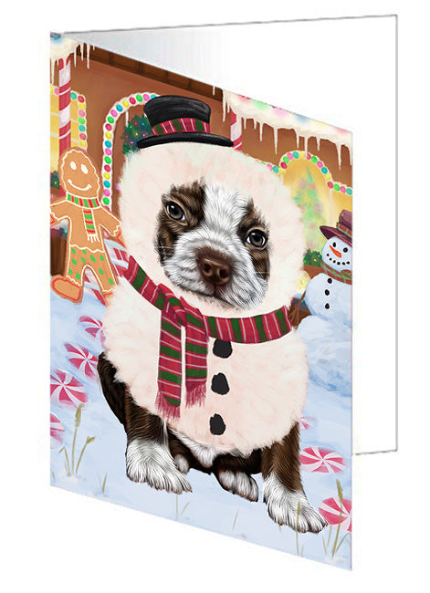 Christmas Gingerbread House Candyfest Boston Terrier Dog Note Card NCD73136