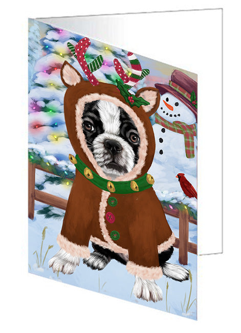 Christmas Gingerbread House Candyfest Boston Terrier Dog Note Card NCD73139