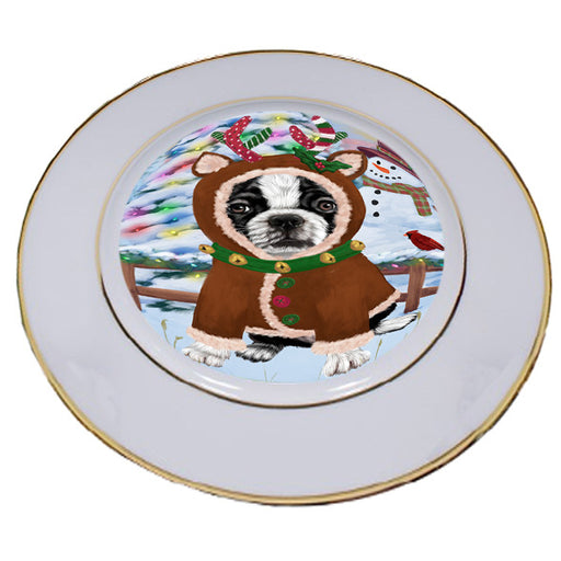 Christmas Gingerbread House Candyfest Boston Terrier Dog Porcelain Plate PLT54557