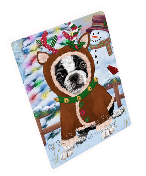 Christmas Gingerbread House Candyfest Boston Terrier Dog Large Refrigerator / Dishwasher Magnet RMAG99516