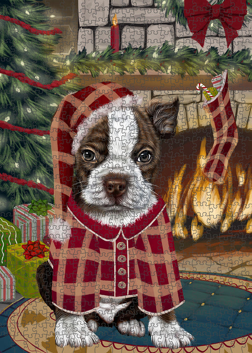 The Stocking was Hung Boston Terrier Dog Puzzle with Photo Tin PUZL89156