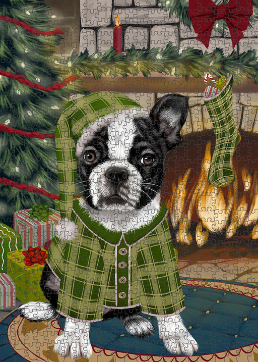 The Stocking was Hung Boston Terrier Dog Puzzle with Photo Tin PUZL89160