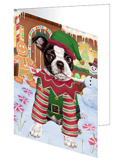 Christmas Gingerbread House Candyfest Boston Terrier Dog Note Card NCD73142