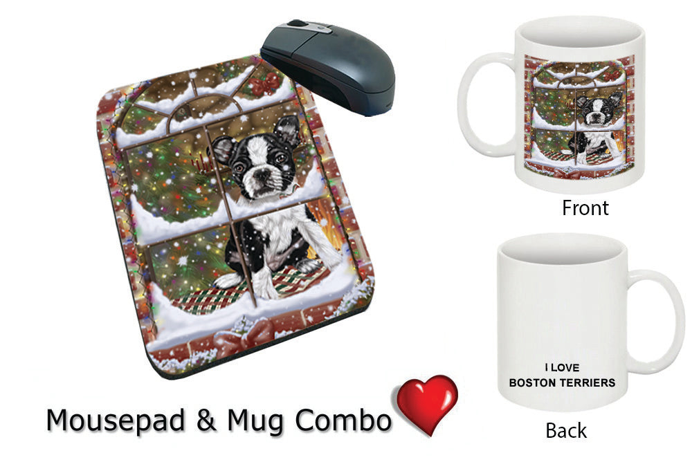 Please Come Home For Christmas Boston Terrier Dog Sitting In Window Mug & Mousepad Combo Gift Set MPC49331