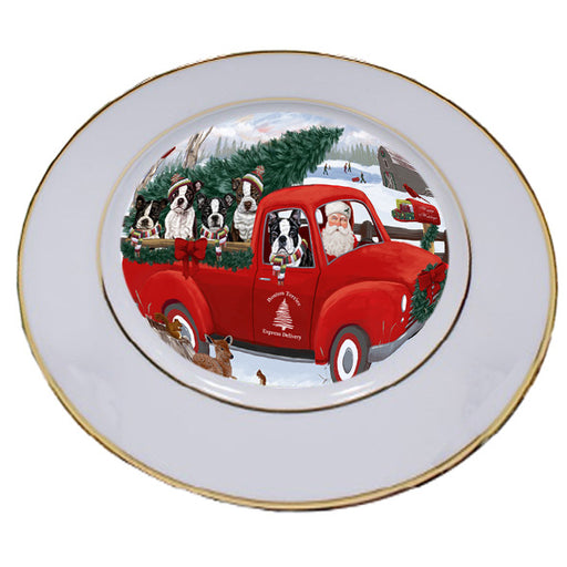 Christmas Santa Express Delivery Boston Terriers Dog Family Porcelain Plate PLT56941