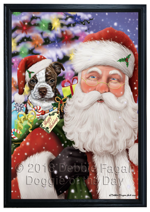 Santa Carrying Boston Terrier Dog and Christmas Presents Framed Canvas Print Wall Art FCVS149388