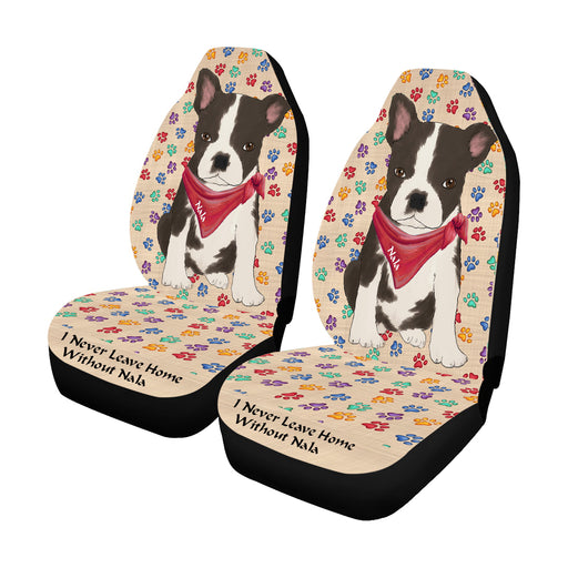 Personalized I Never Leave Home Paw Print Boston Terrier Dogs Pet Front Car Seat Cover (Set of 2)