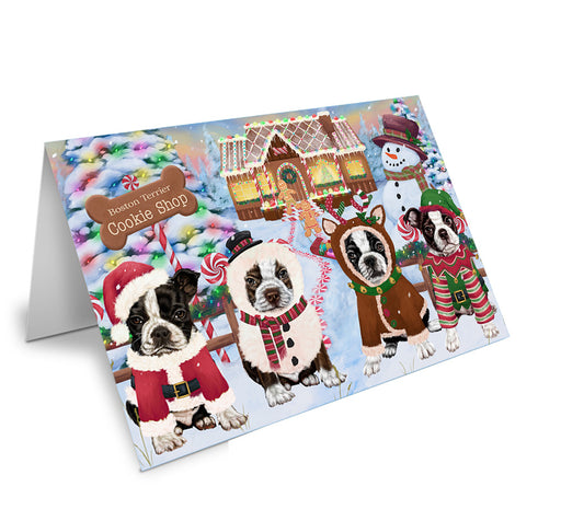 Holiday Gingerbread Cookie Shop Boston Terriers Dog Note Card NCD73664