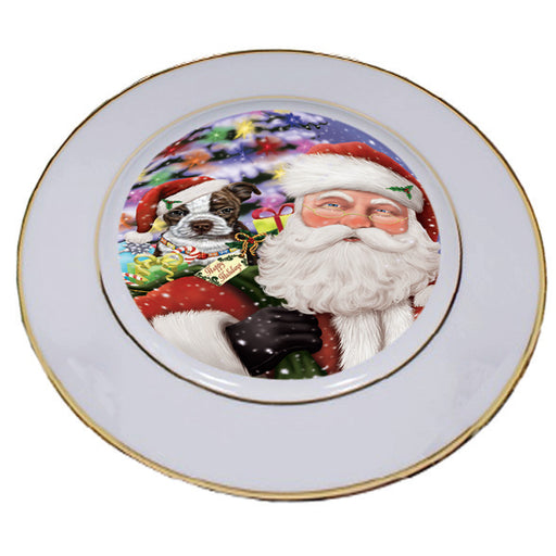 Santa Carrying Boston Terrier Dog and Christmas Presents Porcelain Plate PLT55887