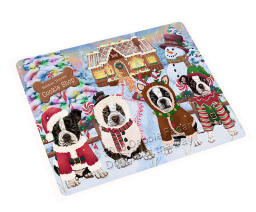 Holiday Gingerbread Cookie Shop Boston Terriers Dog Large Refrigerator / Dishwasher Magnet RMAG100566