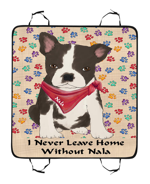 Personalized I Never Leave Home Paw Print Boston Terrier Dogs Pet Back Car Seat Cover