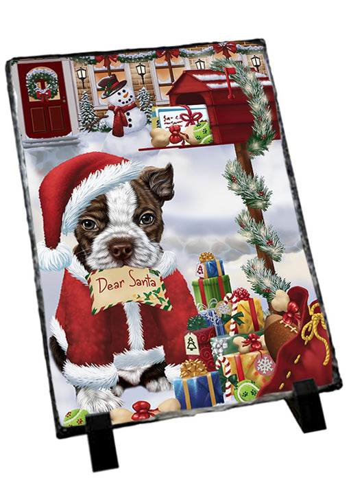 Boston Terrier Dog Dear Santa Letter Christmas Holiday Mailbox Sitting Photo Slate SLT57492