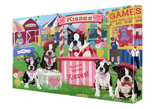 Carnival Kissing Booth Boston Terriers Dog Canvas Print Wall Art Décor CVS125306