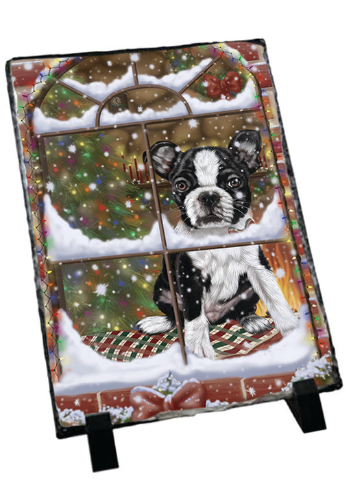 Please Come Home For Christmas Boston Terrier Dog Sitting In Window Sitting Photo Slate SLT57555