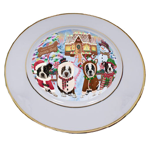 Holiday Gingerbread Cookie Shop Boston Terriers Dog Porcelain Plate PLT54732