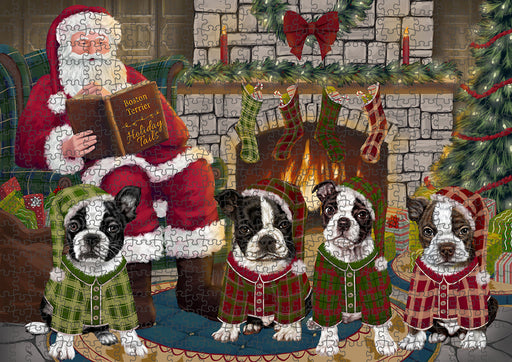 Christmas Cozy Holiday Tails Boston Terriers Dog Puzzle with Photo Tin PUZL88632
