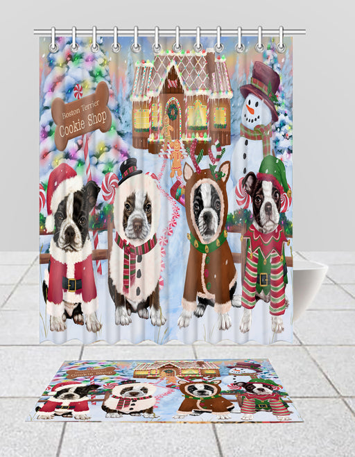 Holiday Gingerbread Cookie Boston Terrier Dogs  Bath Mat and Shower Curtain Combo