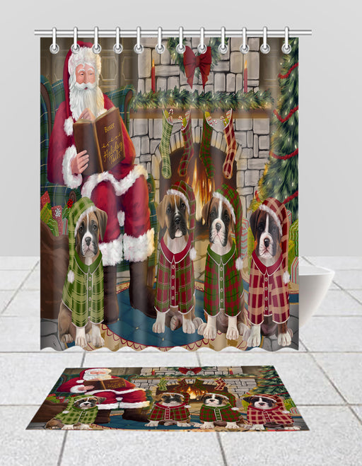 Christmas Cozy Holiday Fire Tails Boxer Dogs Bath Mat and Shower Curtain Combo
